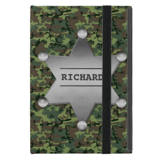 Green Camouflage Pattern Sheriff Name Badge Covers For iPad Mini