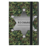 Green Camouflage Pattern Sheriff Name Badge iPad Mini Cases