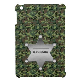 Green Camouflage Pattern Sheriff Name Badge iPad Mini Covers