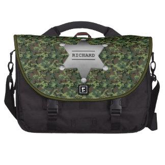 Green Camouflage Pattern Sheriff Name Badge Laptop Computer Bag