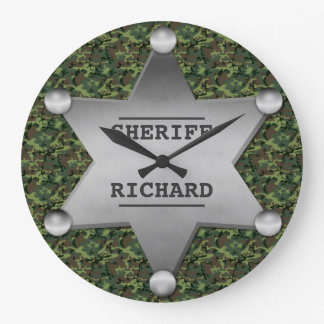 Green Camouflage Pattern Sheriff Name Badge Large Clock