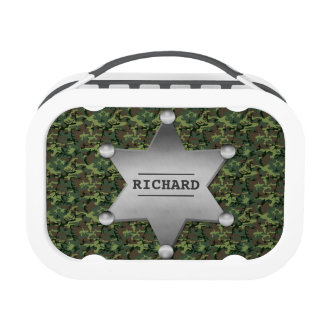 Green Camouflage Pattern Sheriff Name Badge Yubo Lunchboxes