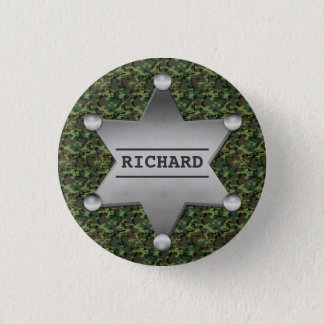 Green Camouflage Pattern Sheriff Name Badge Pinback Button