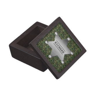 Green Camouflage Pattern Sheriff Name Badge Premium Gift Boxes