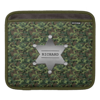 Green Camouflage Pattern Sheriff Name Badge Sleeve For iPads