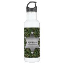 Green Camouflage Pattern Sheriff Name Badge Water Bottle