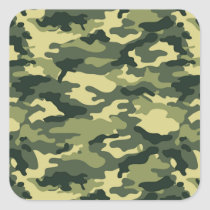 Green Camouflage Pattern Square Sticker