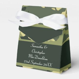 Green camouflage pattern wedding favor box