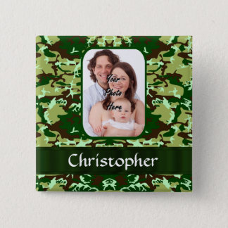 Green camouflage pinback button