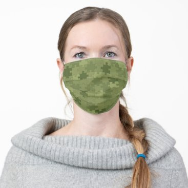 Green Camouflage Puzzle Pieces Pattern Funny Cloth Face Mask