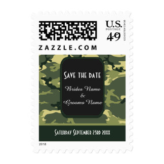 Green camouflage save the date stamp
