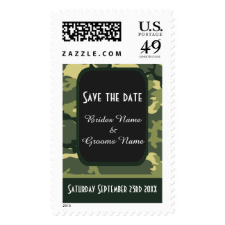 Green camouflage save the date stamps