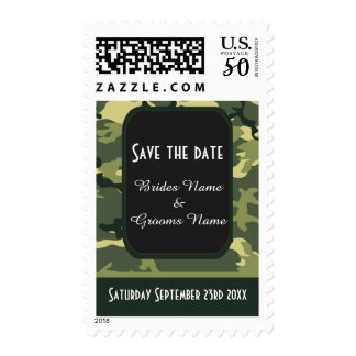 Green camouflage save the date postage