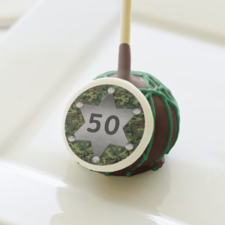 Green Camouflage Sheriff Badge Birthday Year Cake Pops