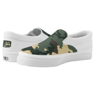 Green Camouflage... Slip-On Sneakers