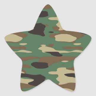 Green Camouflage Star Sticker
