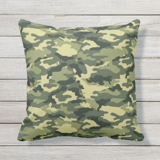 Green Camouflage Throw Pillow