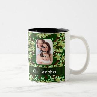 Green camouflage Two-Tone coffee mug