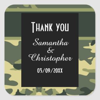 Green camouflage wedding thank you square sticker