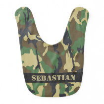 Green camouflaged personalized bib