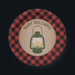 """Green Camping Lantern Lumberjack Plaid Baby Shower Paper Plate<br><div class=""""desc"""">Baby shower paper plates featuring an illustration of a green camping lantern with a red and black lumberjack plaid background.</div>"""