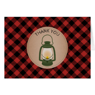 Green Camping Lantern Plaid Baby Shower Thank You Card