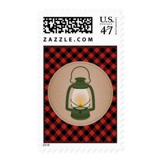 Green Camping Lantern Plaid Postage