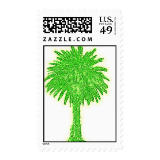 Green Canary Island Date Palm Postage Stamp