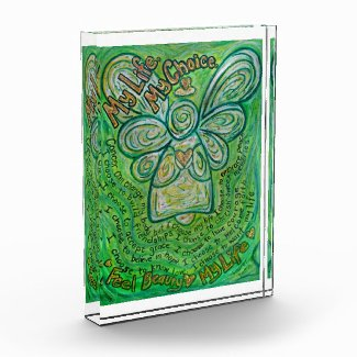 Green Cancer Angel Poem Art Paperweight