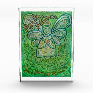 Green Cancer Angel Poem Art Paperweight Acrylic Award