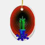 GREEN CANDLE CHRISTMAS ORNAMENTS