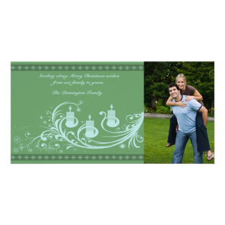 Green candles and snowflakes christmas photocard custom photo card