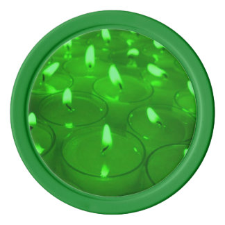 Green Candles Poker Chips Set