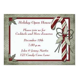 Green Candy Cane Invitation