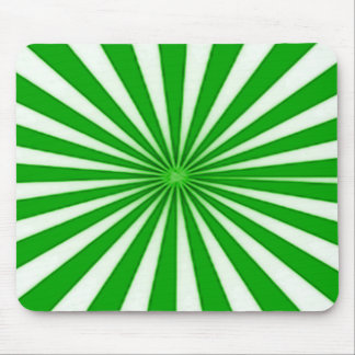 Green Candy Cane Star Burst Stripes Pattern Mouse Pad