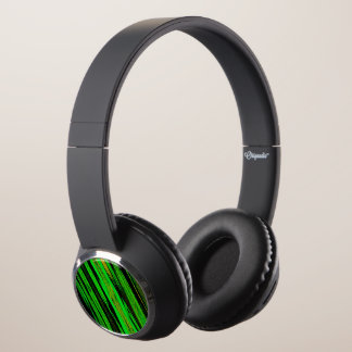 Green Candy Stripe Headphones