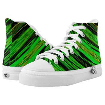 Green Candy Stripe High-Top Sneakers