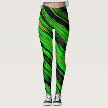 Green Candy Stripe Leggings