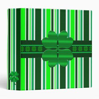 Green candy stripes 4 leaf clover 3 ring binder