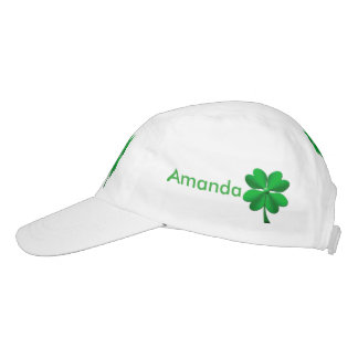 Green candy stripes 4 leaf clover headsweats hat