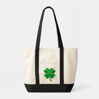 Green candy stripes 4 leaf clover tote bag