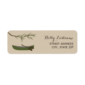 Green Canoe + Evergreen Branch Address Label