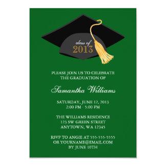 "Green Cap and Tassel Graduation Announcement 5"" X 7"" Invitation Card"