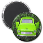 Green Car 2 Inch Round Magnet
