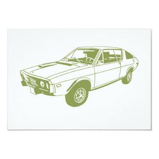 Green car 3.5x5 paper invitation card