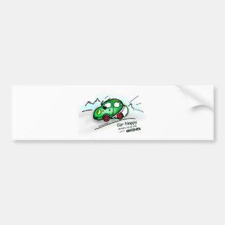 GREEN CAR funny illustrated cartoon Bumper Sticker
