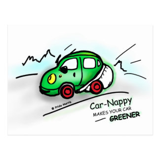 GREEN CAR funny illustrated cartoon CARD Postcard