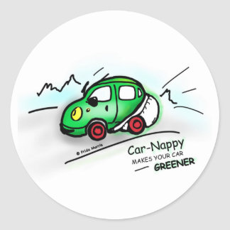 GREEN CAR funny illustrated cartoon round STICKER