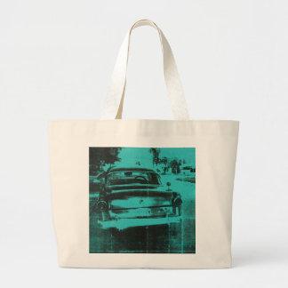Green car large tote bag