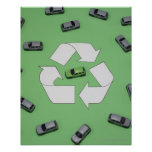 Green car surrounded by grey cars poster
